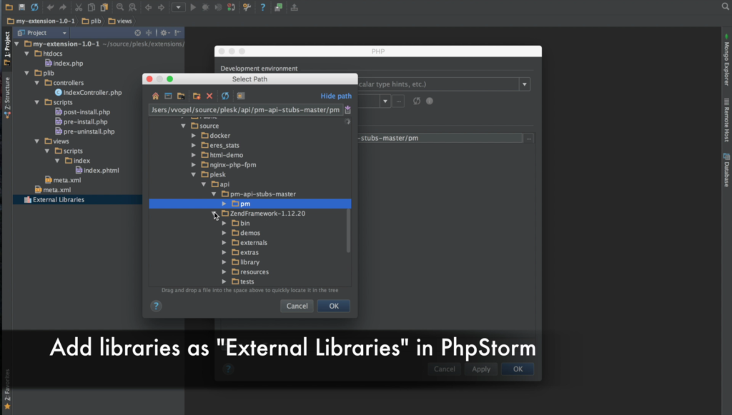 Plesk extension and PHPStorm IDE