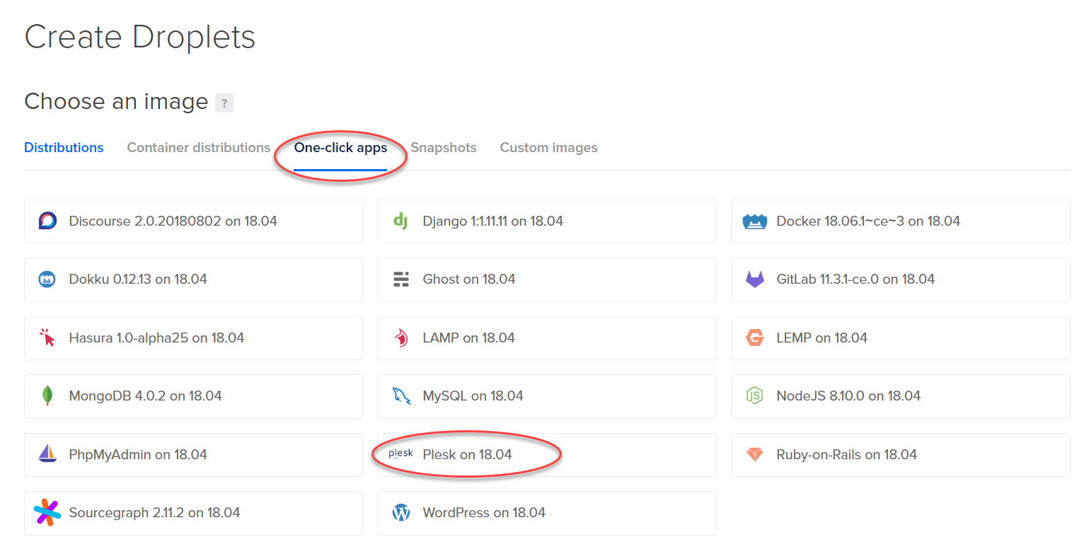 Plesk on DigitalOcean now a one-click app - How to deploy - Create Droplet