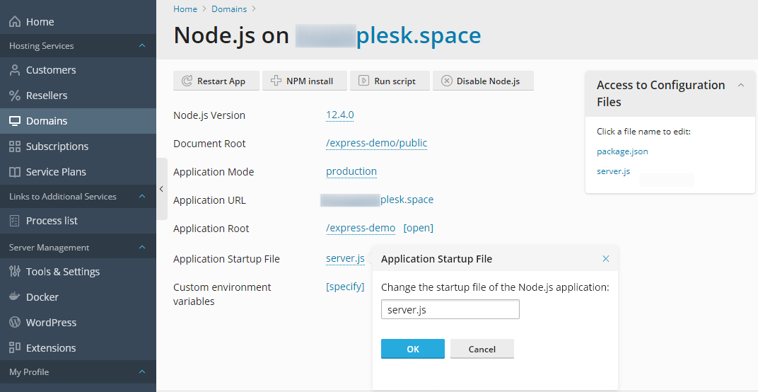 Installing Dependencies - App with Dependencies - Work with Node.js Apps in Plesk Obsidian - Plesk