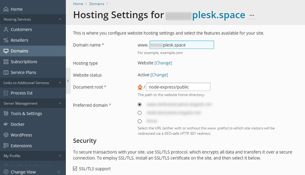 Testing Node.js Support - Node.js and Windows - Work with Node.js Apps in Plesk Obsidian - Plesk