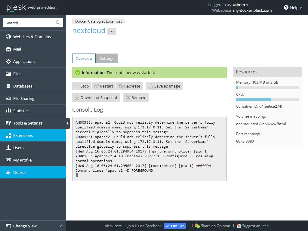 Plesk-Docker-Business-NextCloud-2