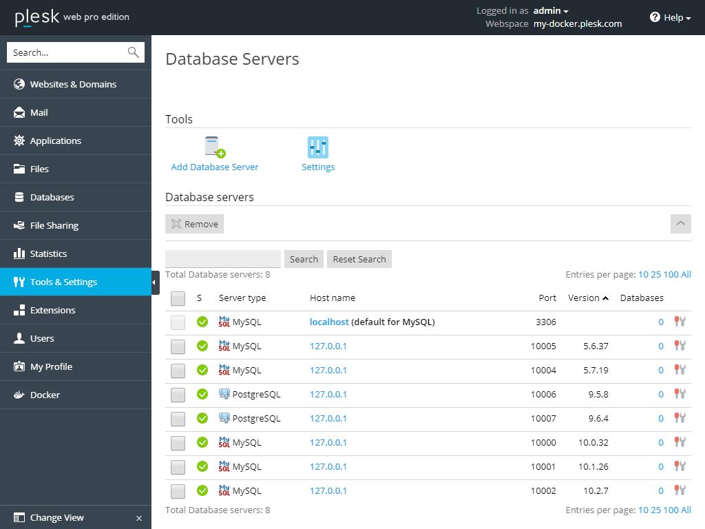 Plesk-Docker-Database-Server-2
