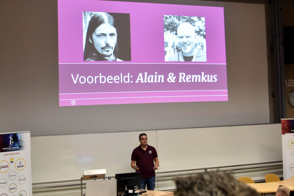 WordCamp Nijmegen, Keynote, Joost de Valk introducing Alain Schlesser and Remkus de Vries as Yoast contractors