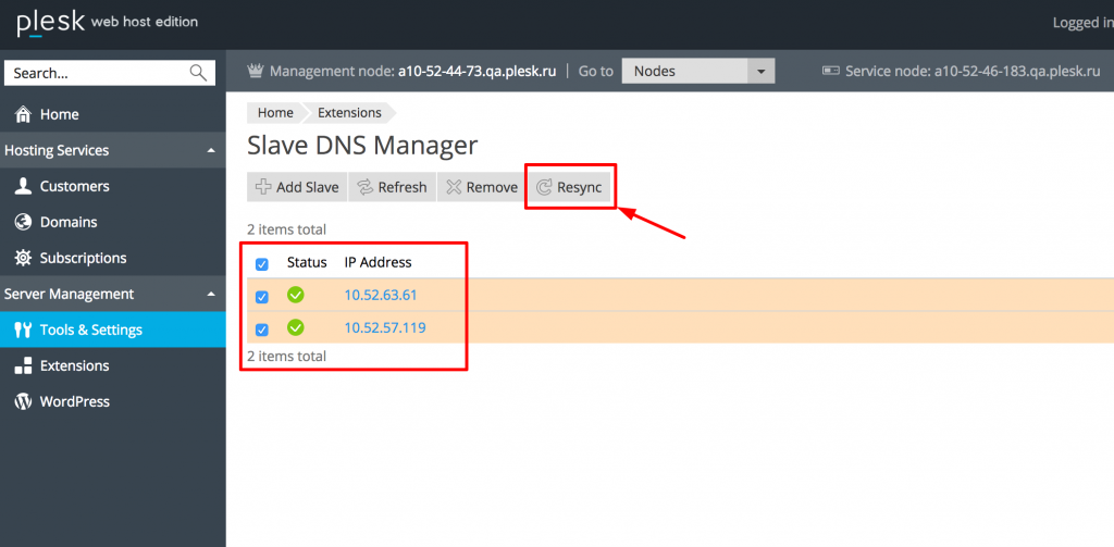 Slave DNS Manager extension - Resync option