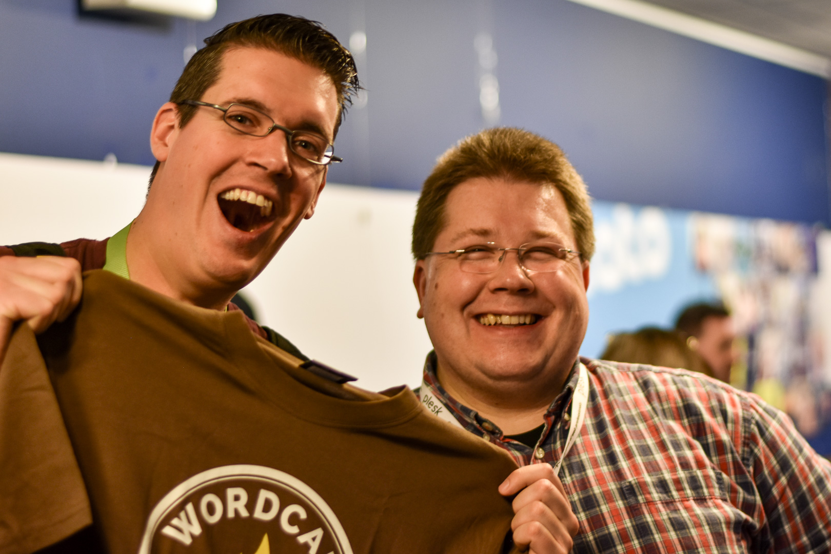 WordCamp Utrecht, Taco Verdonshot and Thomas Brühl with WordCamp Cologne T-shirt