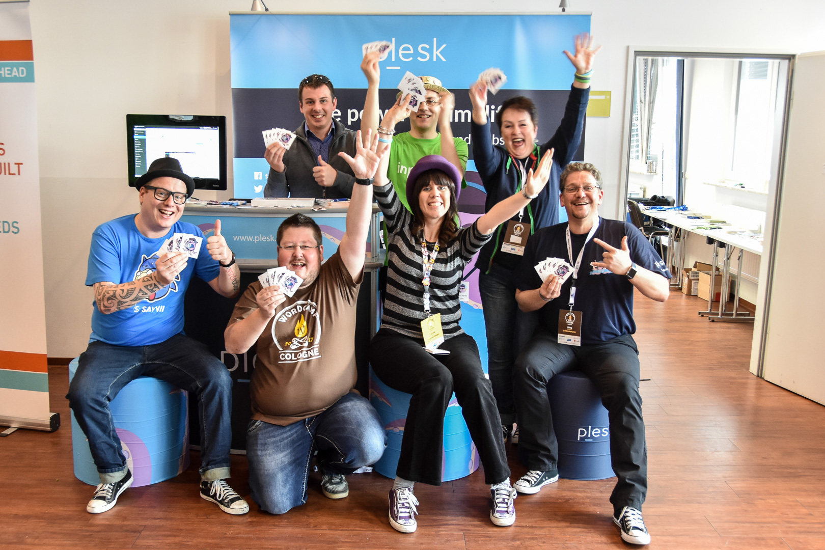 WordCamp Cologne, release of the Octapuu, Plesk's WordPress mascot with Bas Brader, Matthias Kurz, Daniel Stanitzek, Matthias Kurz, Robert Windisch, Carole Olinger, Patricia Hillebrand and Jörg Strotmann
