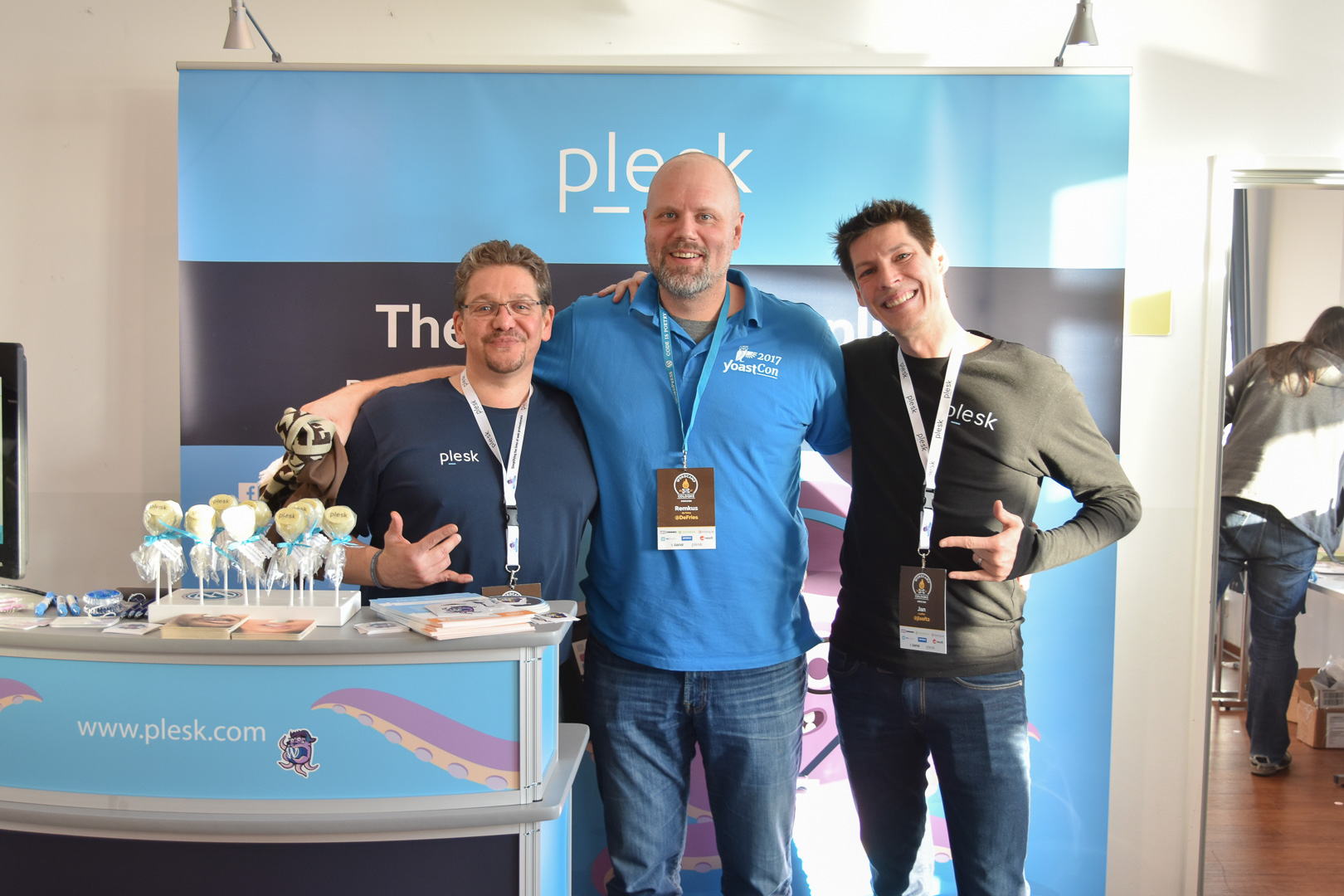 WordCamp Cologne, fun at the Plesk booth with Remkus De Vries, Jörg Strotmann and Jan Löffler