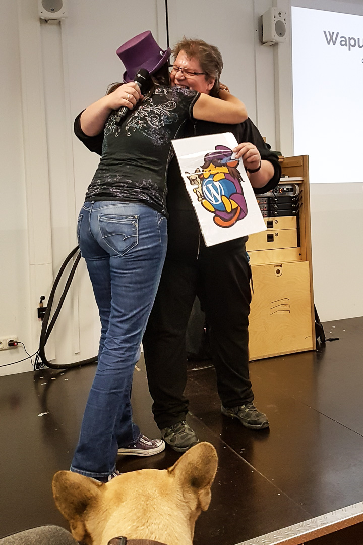 WordCamp Cologne, Frank Staude and Carole Olinger, who got honoured with her own Wapuu by the German WordPress community