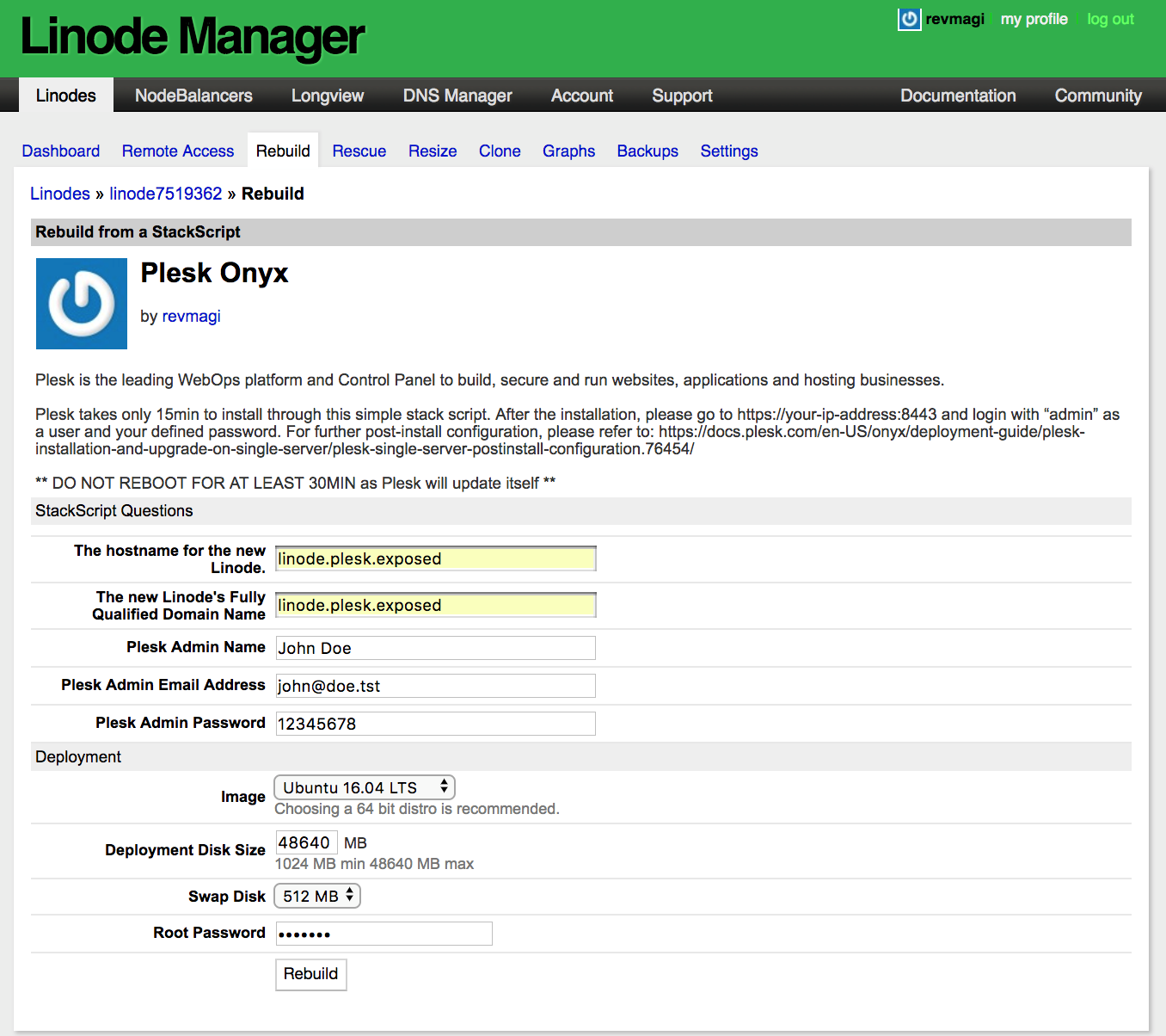Plesk on Linode - Step 7 - Select the OS of your choice