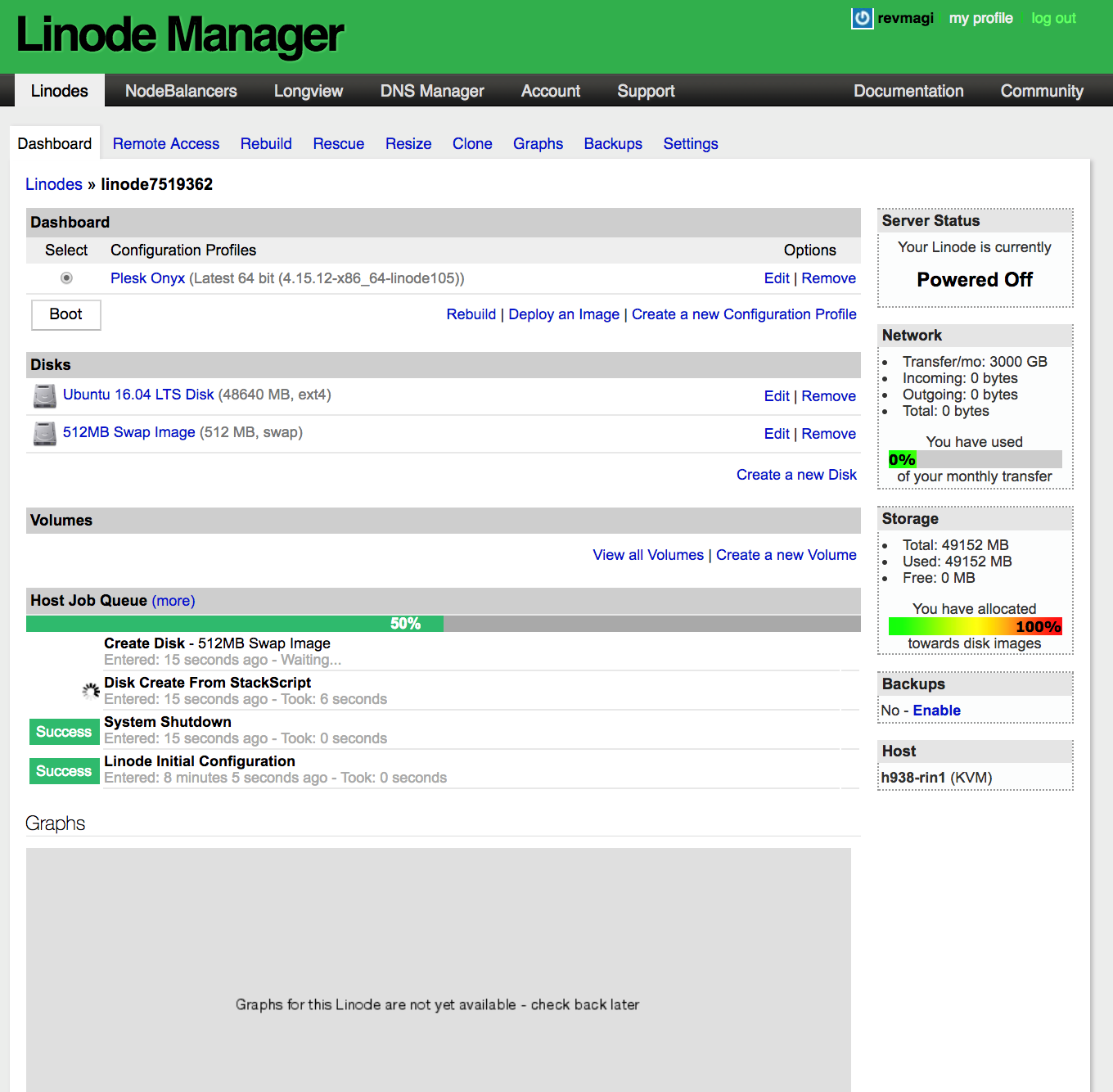 Plesk on Linode - Step 8 - set your Root Password and click Rebuild