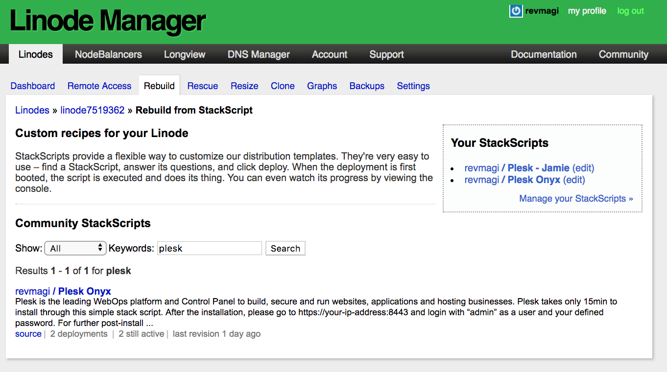 Plesk on Linode - Deploy using Stack Scripts - Step 4