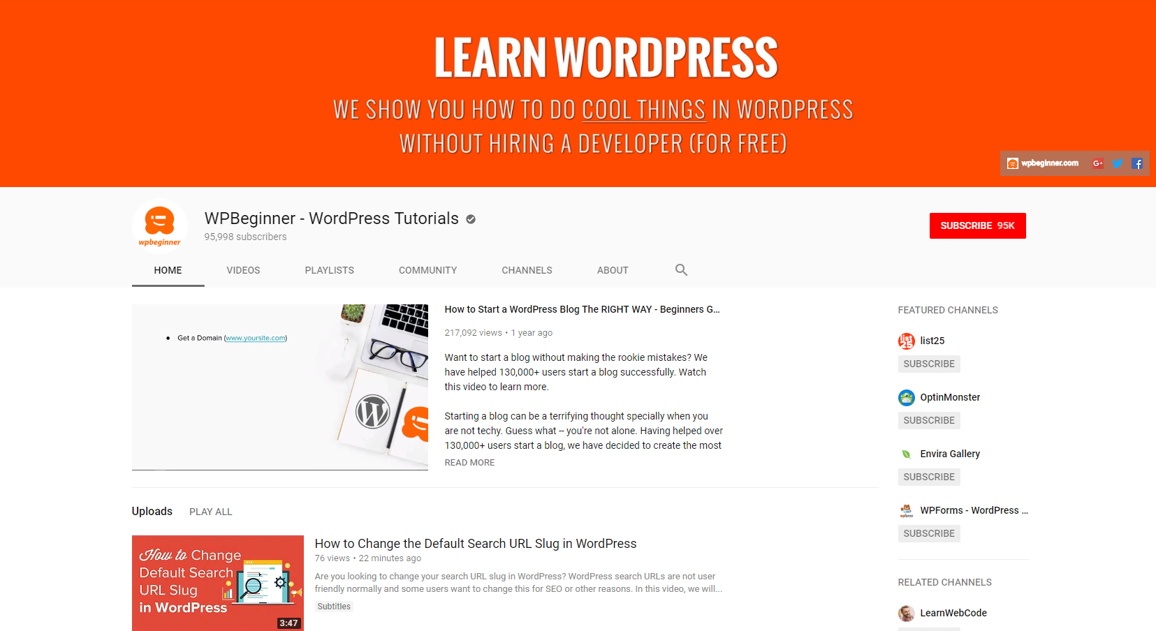 Best Web Development Youtube Channels: WPBeginner WordPress Tutorials