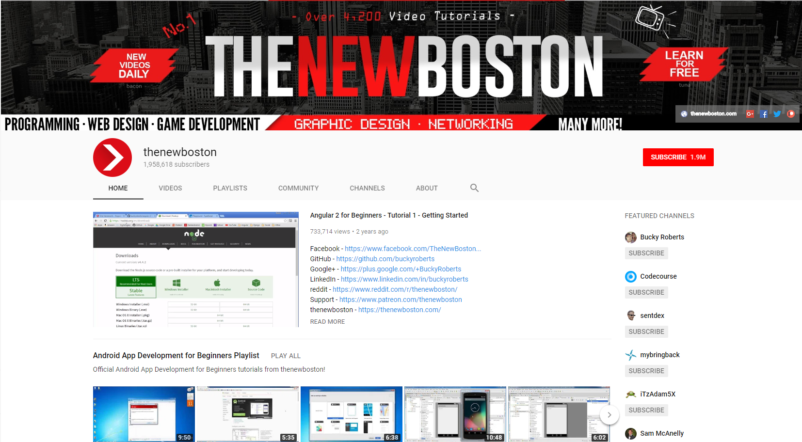 Best Web Development Youtube Channels: The New Boston YouTube Channel