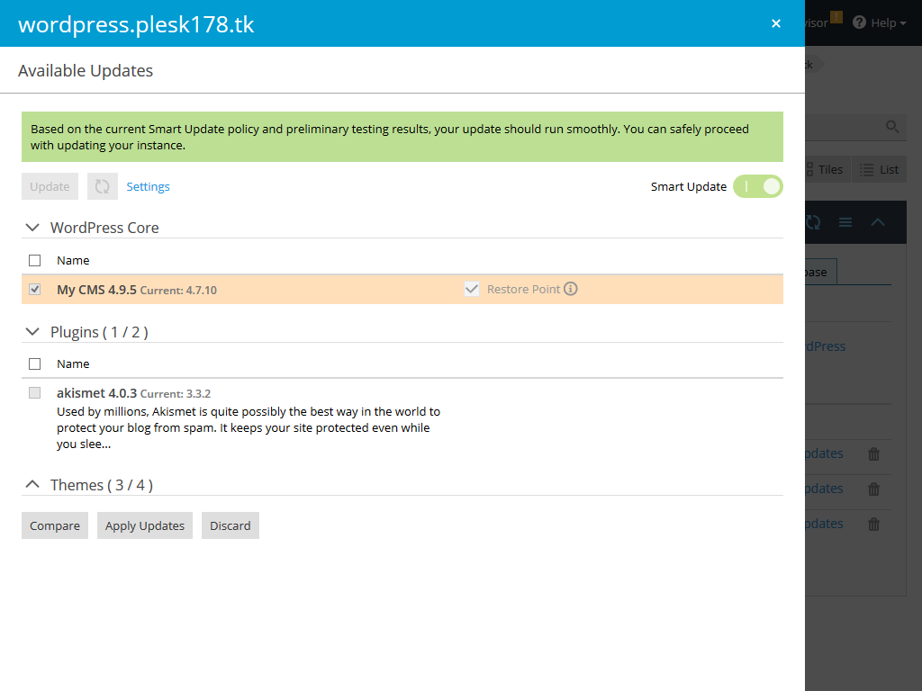 smart-updates for WP toolkit -screenshot - Plesk extension