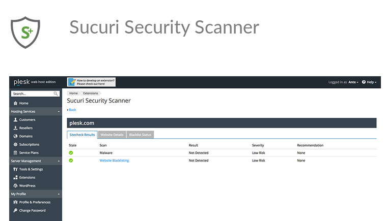 Sucuri Security Scanner on Plesk - Screenshot