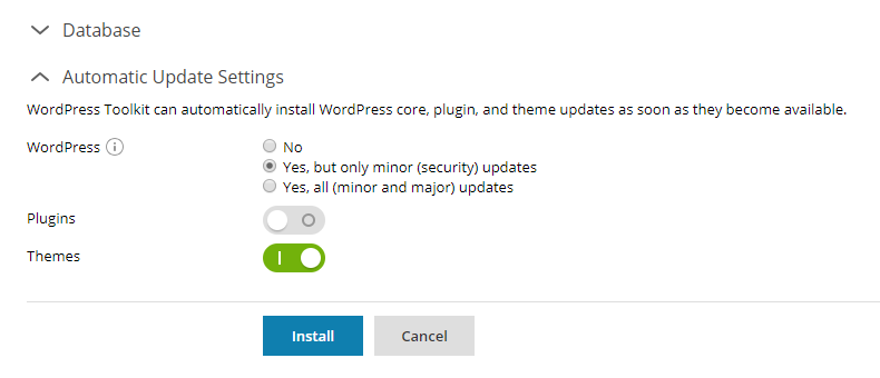 WordPress Toolkit - Automatic update settings