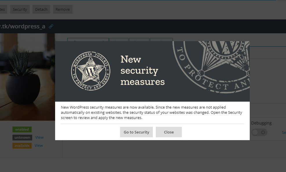 New Plesk WordPress Toolkit 3.5 Screenshot 1-new-security-measures