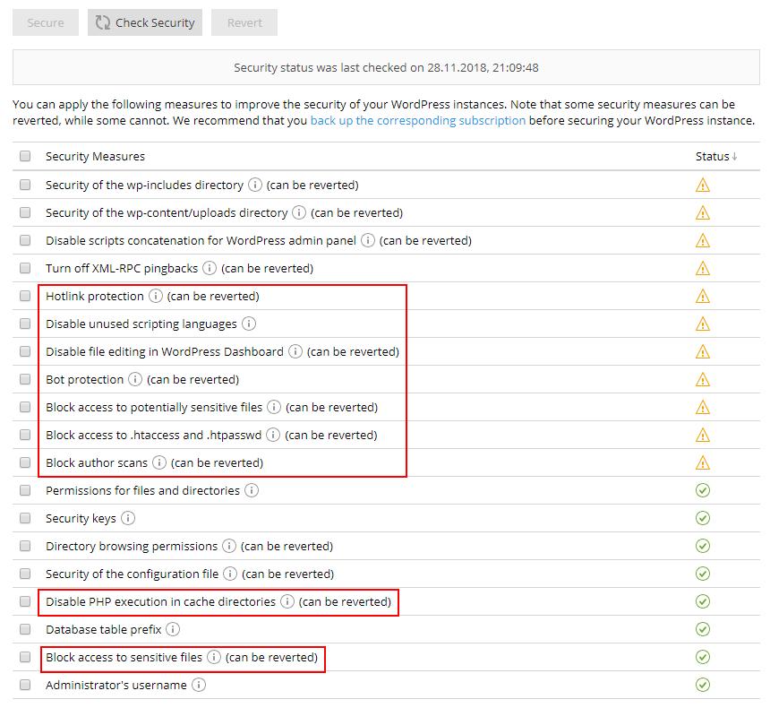 New Plesk WordPress Toolkit 3.5 Screenshot 2 - new security measures list