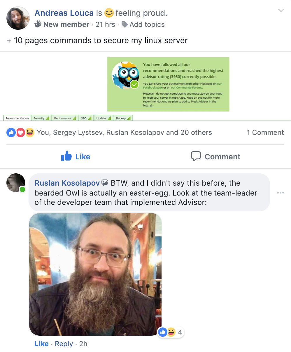 6 reasons to update Plesk Onyx - screenshot-4 - the real bearded owl - Advisor