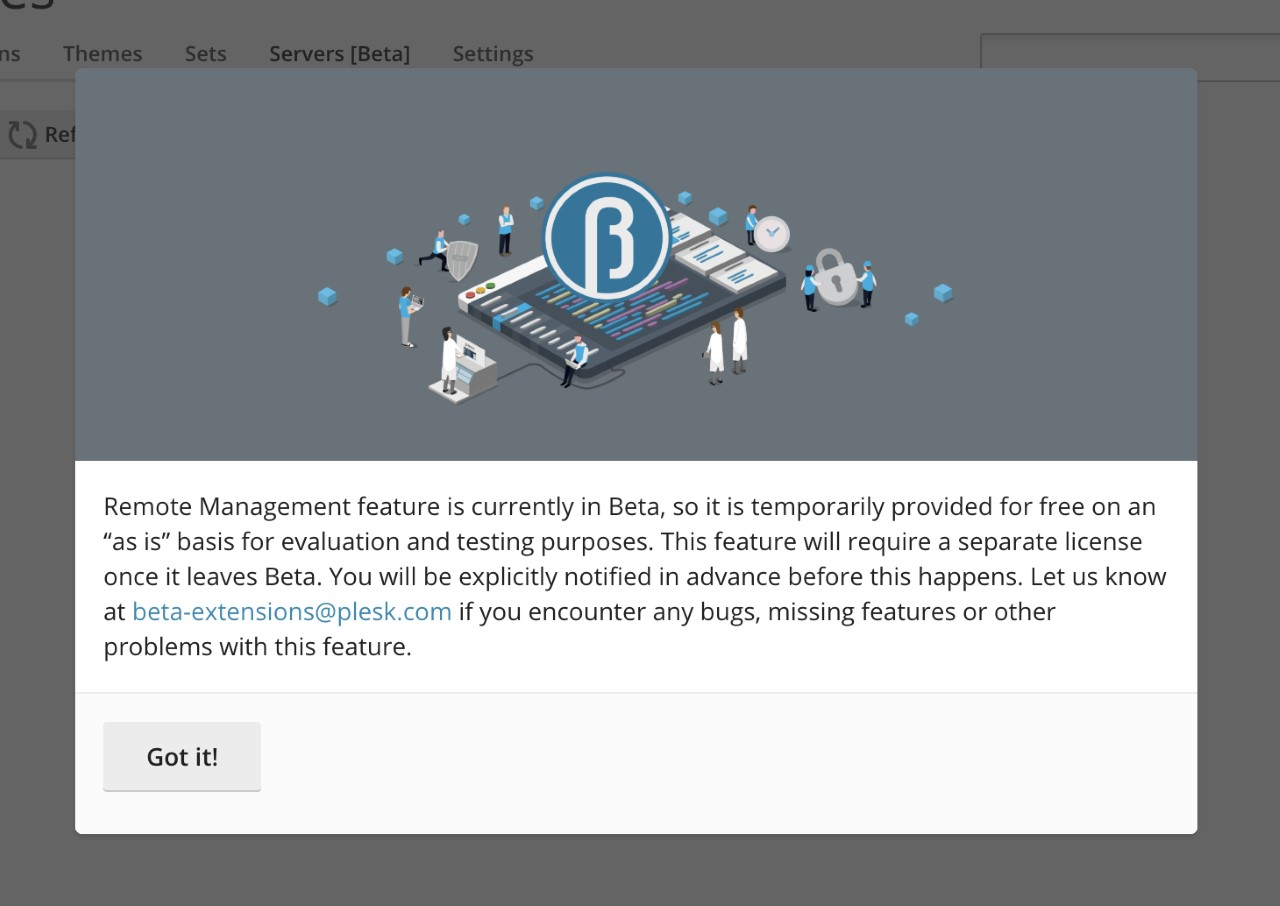 Remote WordPress Management Beta notice on WPTK 4.0
