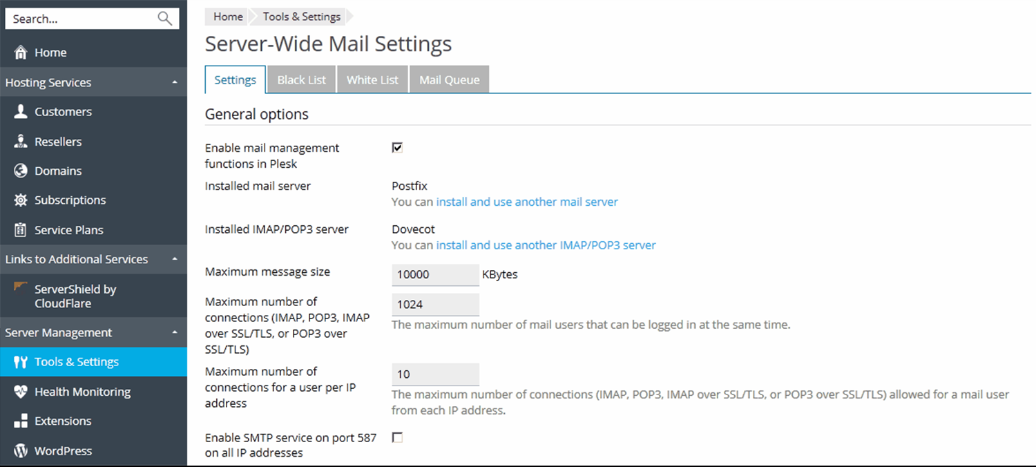 Configuring Server-Wide Mail Settings -Plesk