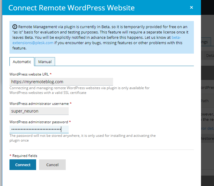 Connect Remote WordPress Website Automaticall