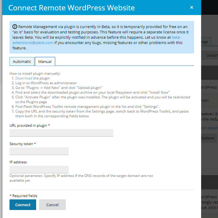 Connect Remote WordPress Website Manually - WordPress Toolkit 4.1 - Plesk