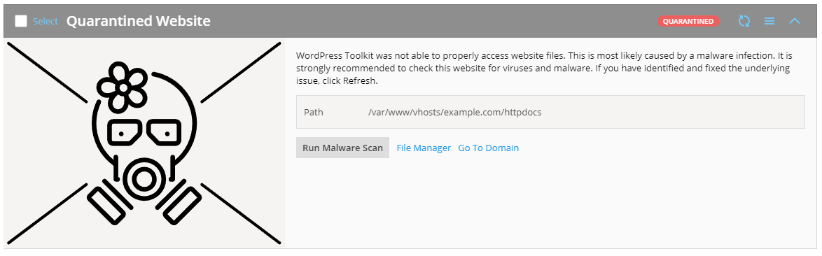 WordPress Toolkit 4.1 Quarantine for websites - Plesk