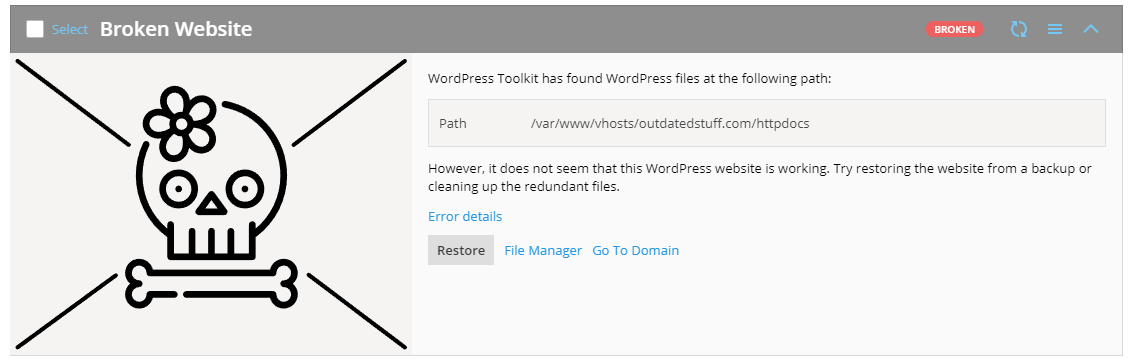 WordPress Toolkit 4.1 - Broken Website path - Plesk