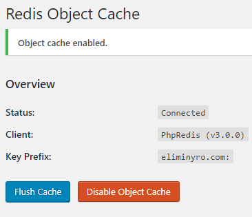Redis Object Cache Enabled