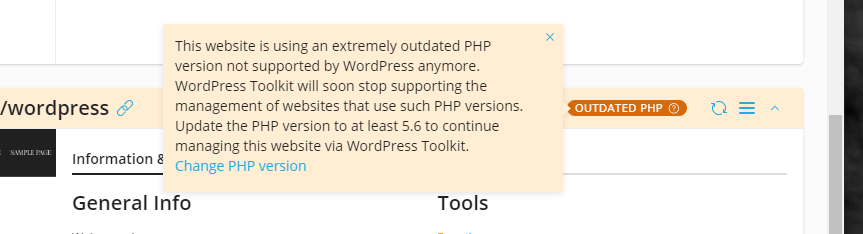 Outdated PHP Notifications on WordPress Toolkit 4.3