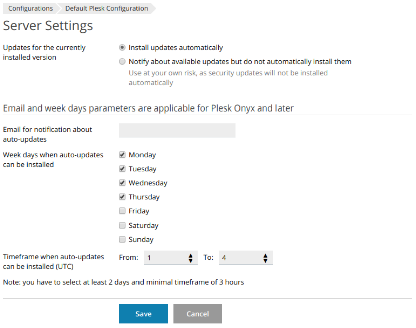 Controlling Automatic Updates from Partner Central and Plesk