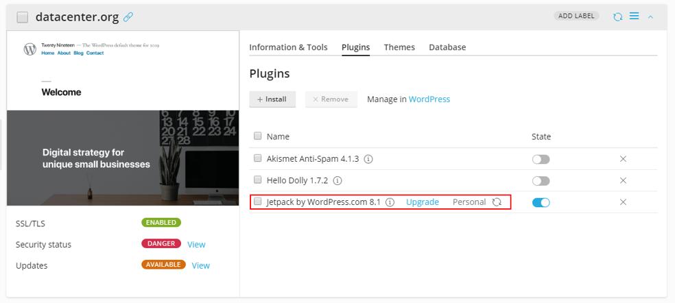 jetpack extension in WordPress Toolkit - plugin upgrade