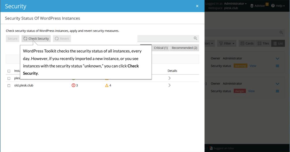 wordpress toolkit - security - Plesk