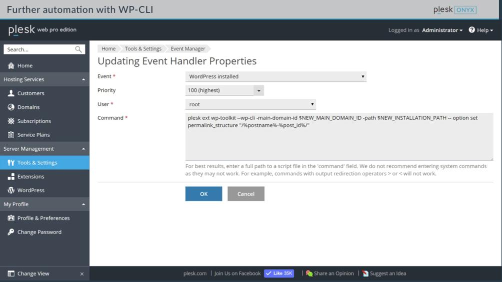 WordPress toolkit - WP CLI - Plesk