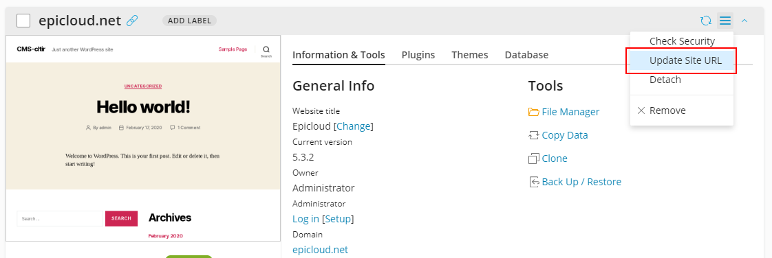 wordpress-toolkit-4.6-update-website-url - Plesk