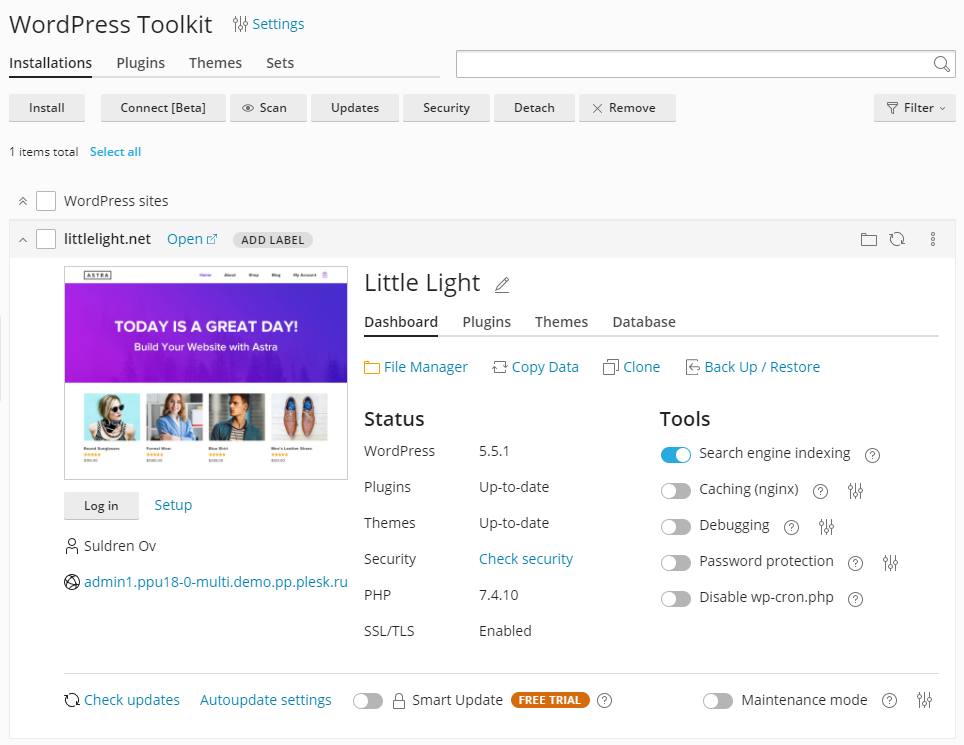 New website management UI - The Plesk WordPress Toolkit 5.0 release - Plesk
