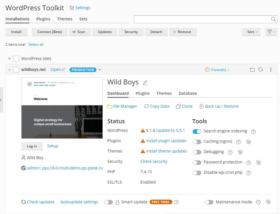 New website management UI - The Plesk WordPress Toolkit 5.0 release - Plesk 2