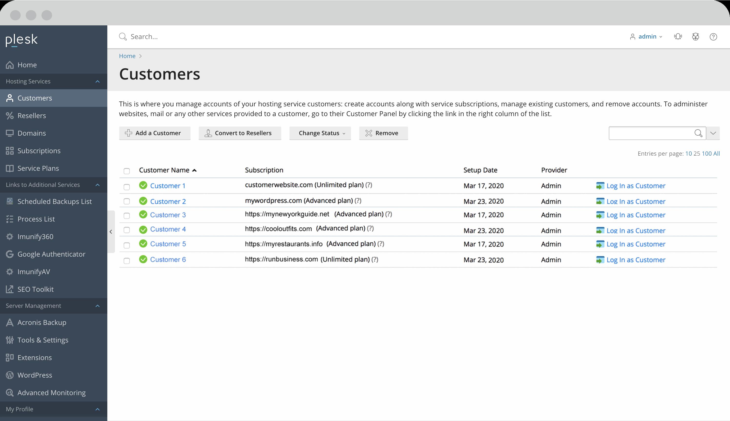 Service provider view Plesk