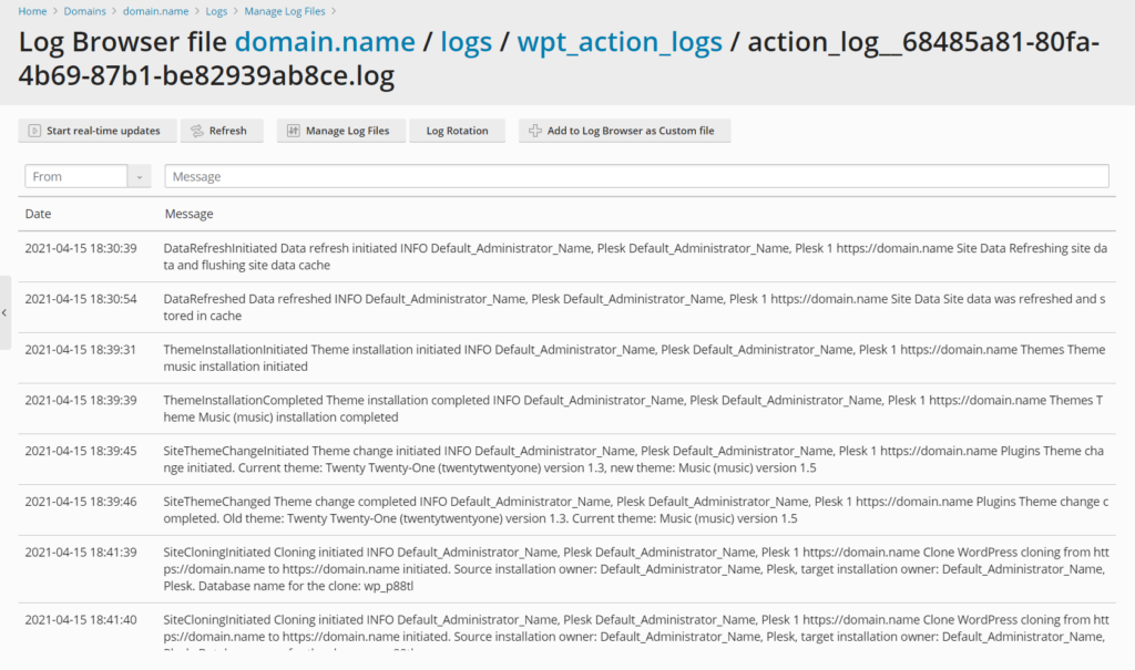 WordPress Toolkit 5.4 Release - WordPress Toolkit Action Log 2 - Plesk
