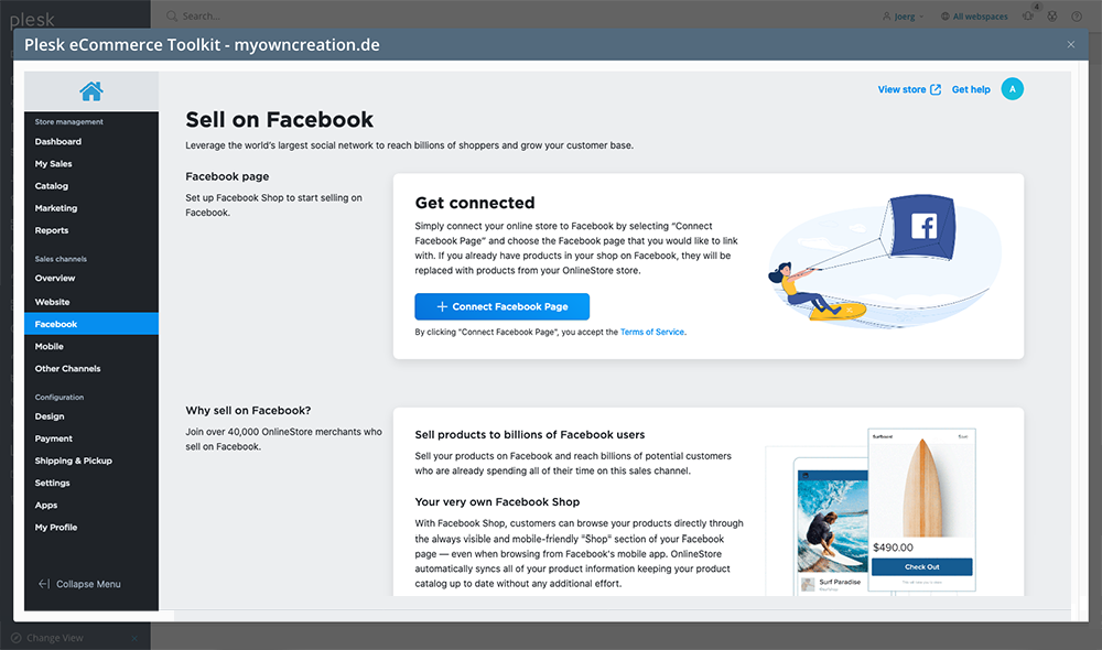How to Start Selling Online with the New Plesk eCommerce Toolkit - Open a Facebook Store 2 - Plesk